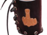 Kožený nápoják na motorku ruční výroby 03