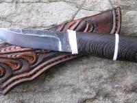 Ručně kovaný nůž a pochva z hovězí kůže 001