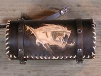 Kožená rolka na motorku ruční výroby 09